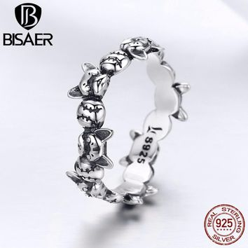 Authentic 925 Sterling Silver French Bulldog Stackable Dog Doggy Anel Finger Rings for Women Sterling Silver Jewelry ECR356