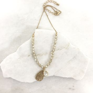 Never Let You Go Crystal Necklace in Gold