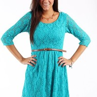 Belted Lace Dress, Turquoise