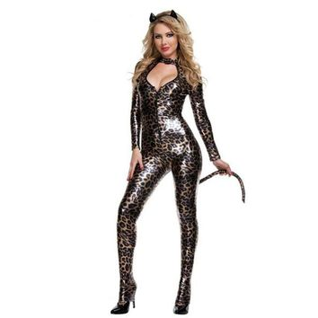 Patent leather costumes _ sexy ladies wild cat Siamese cat girl cosplay party black Catwoman [8979056903]