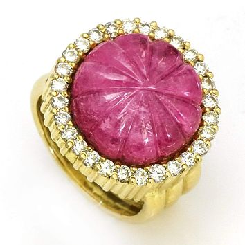 Carved Pink Tourmaline and Diamond Cocktail Ring in 18k Yellow Gold