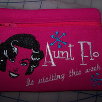 Aunt Flo is Visiting / Pink Tampon & Maxi Pad Pouch -  Zippered Fabric Purse / Pouch / Sanitary Napkin Keeper