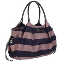 Kate Spade New York Cambridge Stripe Stevie Diaper Bag,Quail/Midnight,One Size - designer shoes, handbags, jewelry, watches, and fashion accessories   endless.com