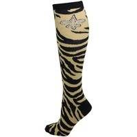 New Orleans Saints Ladies Zebra Print Tube Sock - Black/Old Gold