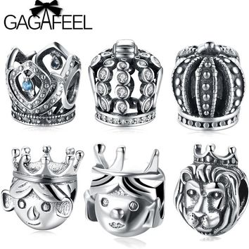 GAGAFEEL 925 Sterling Silver King Queen Crown Beads Fit Pandora Bracelet Fairy Tale Snow White Princess Charm Beads With Crystal