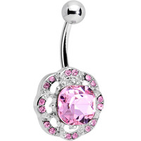 Pink and Clear Gem Petunia Flower Belly Ring | Body Candy Body Jewelry