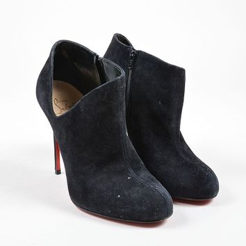 CREY3D5 Christian Louboutin Black Suede Leather Cut Out Ankle Booties