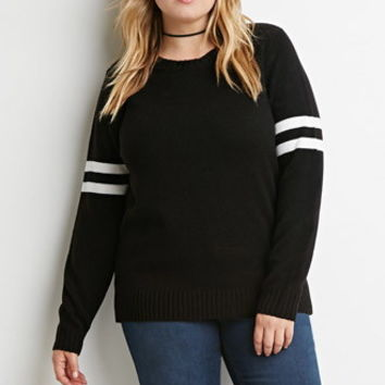 Striped-Sleeve Ribbed Sweater