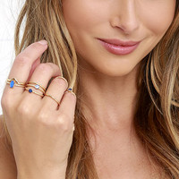 Let Your Heart Decide Gold And Blue Ring Set