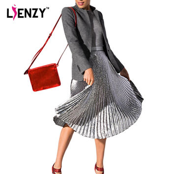 LIENZY 2016 Elegant Summer Long Pleated Skirt Metallic Color Stretch Large Swing Ladies Skirt Gold Sliver Purple Real Photo