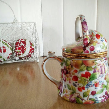 Vintage Formalities Watering Can Trinket Box, Baum Bros Formalities Orchid Collection Watering Can Porcelain Trinket