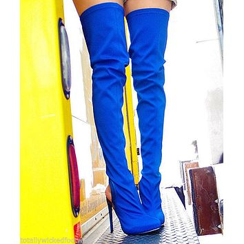 Privileged Asia Stretch Thigh High Closed Toe Open Heel Boot Stiletto High Heel