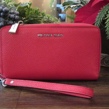 New Michael Kors Bright Red Pebbled Leather LG Flat Phone Case Wristlet Wallet