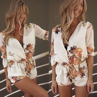 Summer Hot Sale Stylish V-neck Print Romper [6033564353]