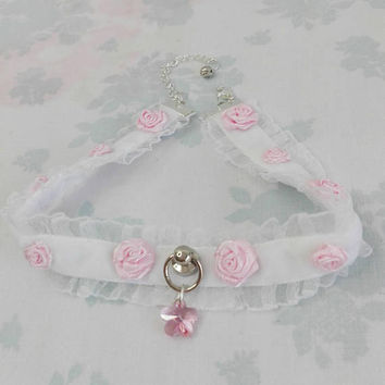 Pre-made Limited Cute White Velvet Pale Blossom Pink Kawaii Lace Pastel Choker