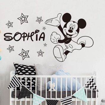 Personalized Name Mickey Mouse Wall Sticker Vinyl Kids Room Wall Decal Nursery Cartoon Custom Animal Sticker Baby Room Art AY980