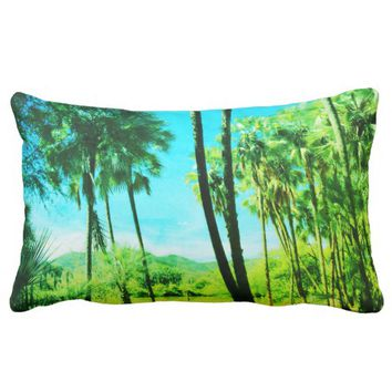 Super Green Tropical Vibes Landscape Cushion
