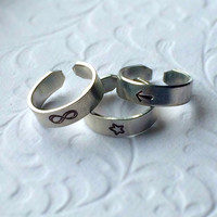 Set of 3 Above the Knuckle or Pinkie Ring / Stackable Rings / Adjustable Rings /