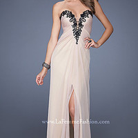 Gorgeous Strapless Nude Prom Dress by La Femme