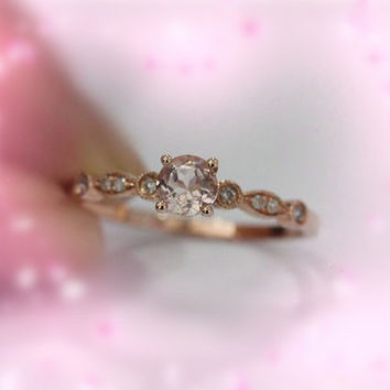 Bezel 14K Rose Gold 6mm Round VS Morganite Ring SI/H Diamonds Engagement Ring Morganite Wedding Band Ring