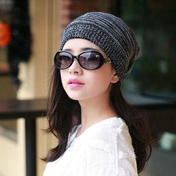 2017 New Mixed Colors Unisex Women Winter Plicate Baggy Beanie Knit Crochet Ski Cap Oversized Slouch Hat Free Shipping Zl161
