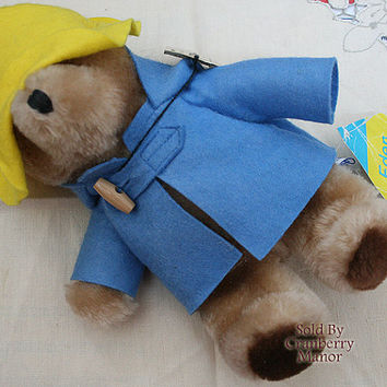 Vintage Paddington Bear Eden Toys in Yellow Hat and Blue Coat with Original Tags #32921