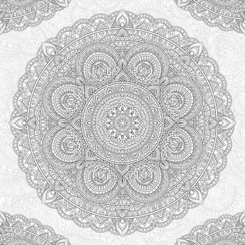 Brewster Wallpaper WPK2182 Shangri-La Mandala Coloring Wall Decal