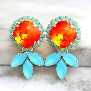 Coral Earrings, Coral Mint Earrings, Fire Opal Earrings, Orange Earrings, Gift For Her, Swarovski Crystal Orange Earrings, Orange Studs