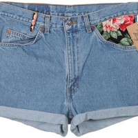 Levi's Blue Denim Shorts W/ Black Floral Patch W34.5 - Vintage clothing from Rokit -