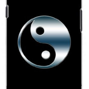 Yin Yang Symbol in Smokey Blue Chrome Unique Quality Soft Rubber TPU Case for Samsung Galaxy S4 I9500 - White Case