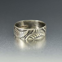 Antique English Silver Fern Leaf Band Ring C 1883