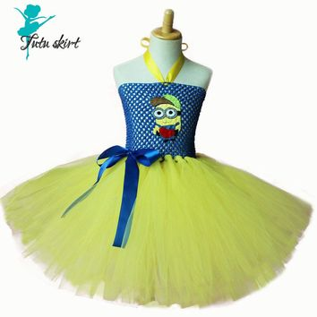 Cute Minion Girl Dress Peach Minion Cosplay Tutu Dress Halloween Costume Kids Tutu Dress Factory Price