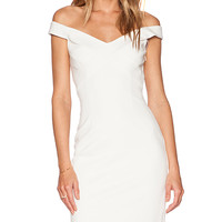 NICHOLAS Cross Front Off Shoulder Dress in White