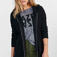UNIF Waffle Zip-Front Hooded Sweater- Black