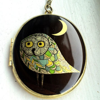 Owl locket necklace, long necklace