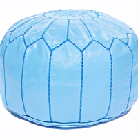 Moroccan Leather Ottoman Pouf, Turquoise