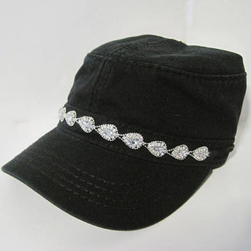 Black Cadet Army Hat with Beautiful Rhinestone Trim on the Band Cadet Hats Accessories Military Hats Womens Hats Summer Hats