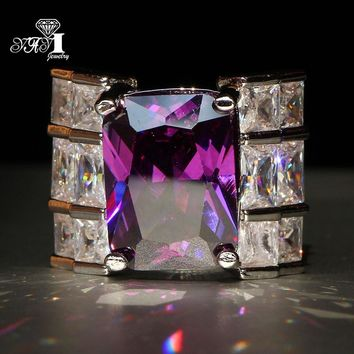YaYI Jewelry Fashion  Princess Cut Huge 9.5 CT Purple Zircon Silver Color Engagement Rings wedding Rings Party Rings