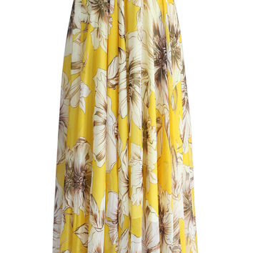 Marvelous Floral Maxi Skirt in Yellow Multi