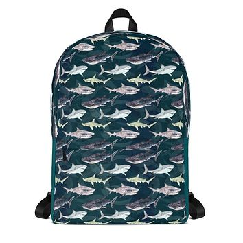 Sea Sharks Backpack School Bag with Great White Sharks, Whale Sharks and Hammerheads Ocean Animals