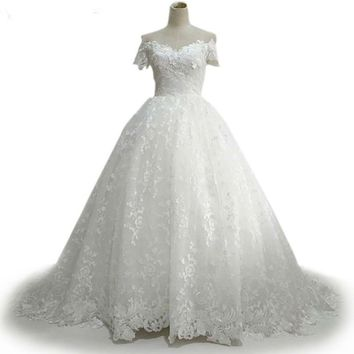 Cap Sleeves White Wedding Dress zipper Up Beautiful Sweetheart short Sleeve Applique Lace Wedding Dresses