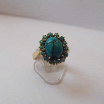 VINTAGE TURQUOISE and gold RING,14kt, circa 1910.