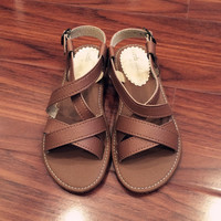 Camel Leather Flat Beach Slippers Stylish Sandals