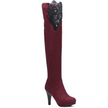 Suede Embroidery Cone Heel Thigh Boots - Wine Red 38