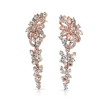Waterfall Crystal Chandelier Statement Earrings Rose Gold Plated