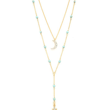 PAVE DECO STAR DOUBLE BEADED NECKLACE