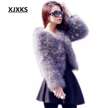 New 2018 Ostrich feather coat Korean Slim plus cotton long-sleeved women's round neck short section of encryption genuine fur