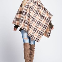 Timeless Plaid Poncho - Taupe