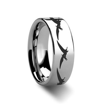 Dinosaur Teradactyl Print Engraved Flat Tungsten Wedding Ring for Men and Women - 4MM - 12MM