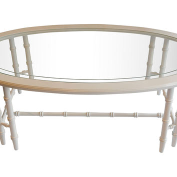 Oval Faux-Bamboo Coffee Table